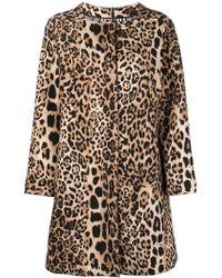 Clips - Leopard Print Square Neck Coat - Lyst
