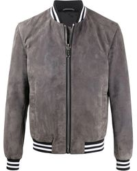 Les Hommes - Contrast-tim Leather Bomber Jacket - Lyst