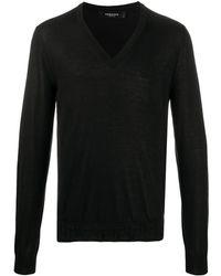 Versace Джемпер С V-образным Вырезом И Отделкой Greca - Черный