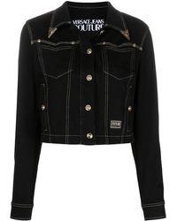 Versace Jeans Couture Embossed Tip Denim Jacket - Black