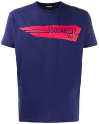 DSquared² T-shirt Met Logoprint - Blauw