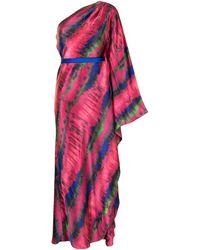 SemSem Robe drapée à design asymétrique à une épaule - Rose
