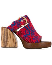 Chloé Tapestry Wave Mules - Red