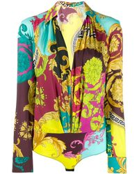 Versace - Deep V-neck Bodysuit - Lyst