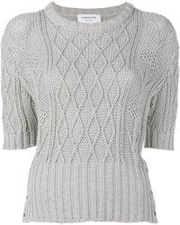 ba02306586c0 Lyst - Thom Browne Aran Knit Sweater in White