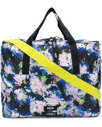 MSGM X Eastpak Floral Print Oversize Tote Bag - Black