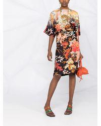 Etro Платье-кимоно С Цветочным Принтом - Черный
