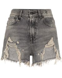 R13 Shredded Ripped Hem Denim Shorts - Black