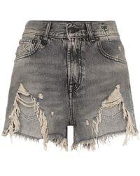 R13 Shredded Slouch Denim Shorts - Black