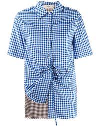 Ports 1961 Gingham Print Shirt - Blue