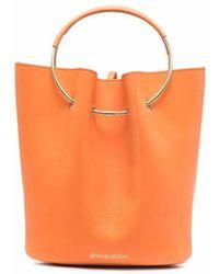 Gentry Portofino Loop-handle Leather Tote Bag - Orange