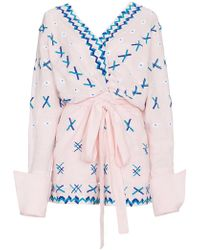 All Things Mochi - Magda Embroidered Linen Playsuit - Lyst