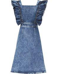 Miu Miu Kleid mit gerüschten Ärmeln - Blau