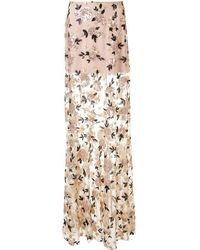 Macgraw Floral Sequin Maxi Skirt - Multicolor