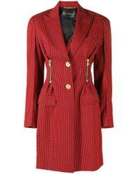Versace Однобортное Пальто С Узором - Красный