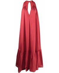 Kalita Silk Maxi Dress - Red