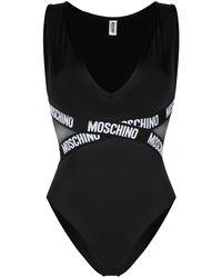 Moschino ロゴ メッシュパネル ボディスーツ - ブラック