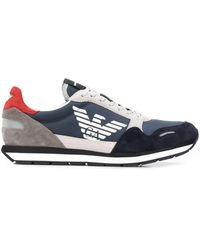 Emporio Armani Colour Block Low-top Trainers - Blue