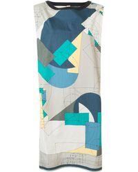 Hermès Платье-рубашка С Геометричным Принтом - Серый