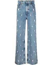 Sandro Floral Wide-leg Jeans - Blue