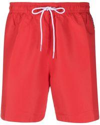 Calvin Klein Badeshorts mit Logo-Streifen - Rot