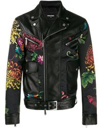 DSquared² Floral Leather Jacket - Black