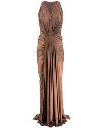 Rick Owens Lilies ノースリーブ プリーツドレス - ブラウン