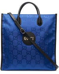 Gucci GG Pattern Logo-patch Tote - Blue