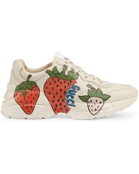 Gucci - Off-white Strawberry Rhyton Sneakers - Lyst