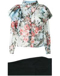 Saiid Kobeisy Ruffle Detail Floral Print Blouse - Black