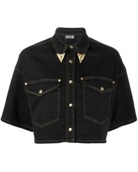 Versace Jeans Couture ブラック デニム クロップド シャツ