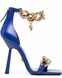 Versace Босоножки С Цепочкой И Декором Medusa - Синий