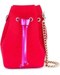 Casadei Small Ribbed Bucket Bag - Red