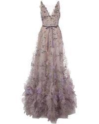 Marchesa フローラル イブニングドレス - マルチカラー