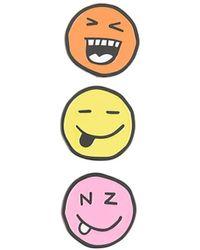 Natasha Zinko Three-pack Faces Pin Set - Yellow