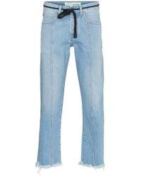 Off-White c/o Virgil Abloh X Browns Diagonal Stripe Frayed Denim Jeans - Blue