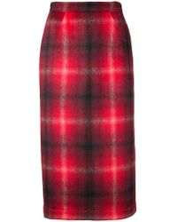 N°21 - Checked Pencil Skirt - Lyst