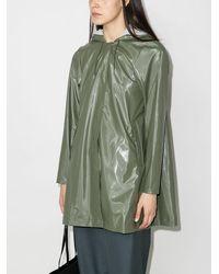 Rains フーデッド Aラインコート - グリーン