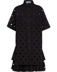 Prada アイレットレース シャツドレス - ブラック