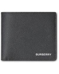 Burberry Portefeuille à rabat en cuir grainé - Noir