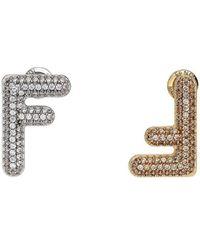 Fendi - Серьги С Кристаллами - Lyst