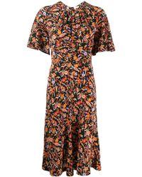 10 Crosby Derek Lam Short Sleeve Paisley Print Midi Dress With Asymmetric Hem - Black