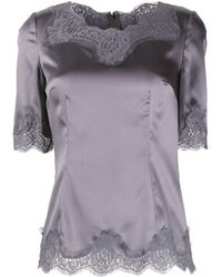 Dolce & Gabbana - Lace Trimming Short-sleeved Blouse - Lyst