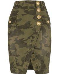 Balmain Camouflage Denim Skirt - Green