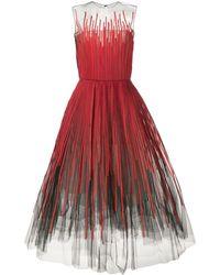 Oscar de la Renta Vestido de fiesta de tul con aplique de rayas - Rojo