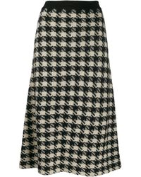 Gucci - Houndstooth Knitted Midi Skirt - Lyst