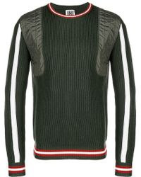 Les Hommes - Ribbed Knit Panelled Sweater - Lyst