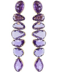 Bayco 18kt Rose Gold Free-shape Natural Purple Sapphire Earrings