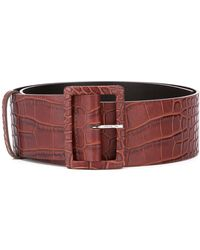 MSGM Crocodile-embossed Leather Belt - Brown