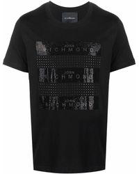 John Richmond ラインストーンロゴ Tシャツ - ブラック